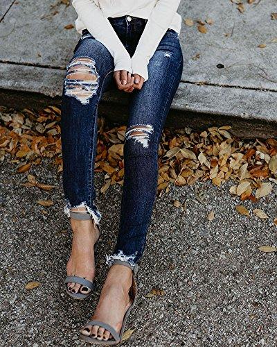 Pantaloni Slim Del Blu Strappati Stirata Skinny Stretch Jeans Marino Donne Ginocchio 7YAwRXxYq
