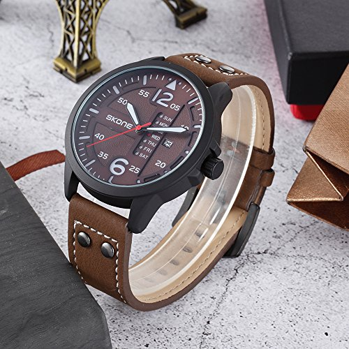 Amazon.com: Unique Big Face Watches for Men, Chronograph Waterproof Gift Watch Day/Date relojes de Hombre: Watches
