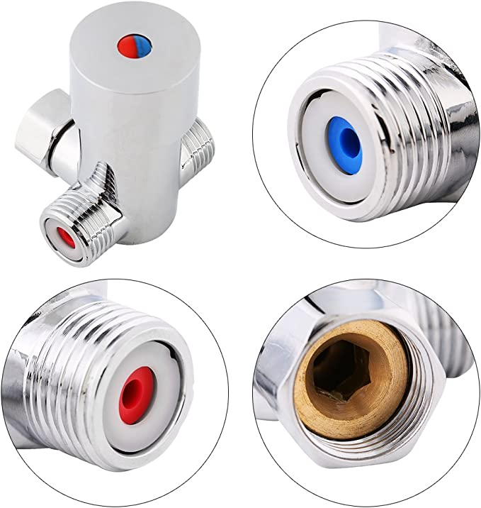 Mixer Valve G1//2 Hot Cold Water Mixing Valve Thermostatic Mixer Temperature Control for Automatic Faucet