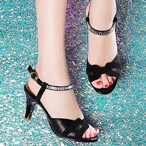 KHSKX-Die Sandale Frau Sommer Gut Mit Dem Fisch Den Hochhackigen 6 Cm Schuhe In Der Wasser - Übung Mit Dem Tau Ein Wort An Die Sandalen black