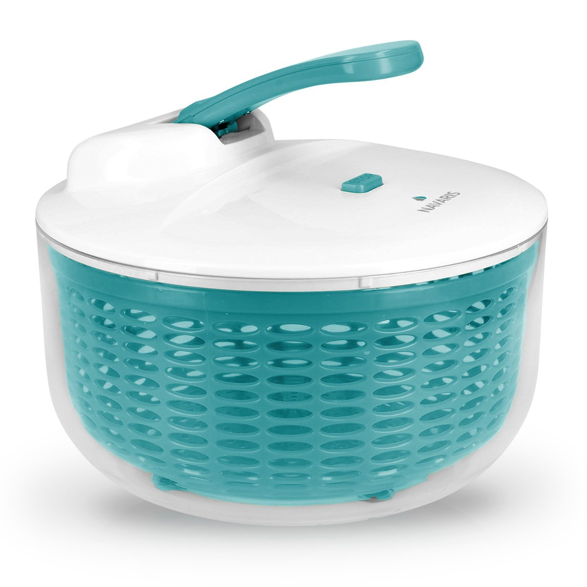 Navaris 2in1 Salad spinner bowl with lid - Big salad bowl sieve for salad pasta - Ø 26cm spinner with 5 liter capacity KW-Commerce 43636_m000628