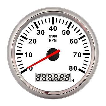 Tachometer Digitaler Stundenmesser Biuzi 85mm Zeiger Digitaler Tachometer 8000 U Min Red Boat Guage Wasserdichter Tacho Digitaler Tacho Tacho Digital Gewerbe Industrie Wissenschaft