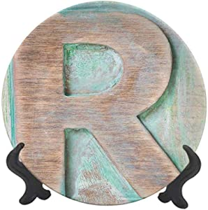 "Letter R 10"" Ceramic Decorative Plate,Wooden Alphabet Block Antique Letterpress Theme Grunge Display Print Dinner Plate Decor Accessory for Dining Table Tabletop Home Decor Mint Green Pale Brown"