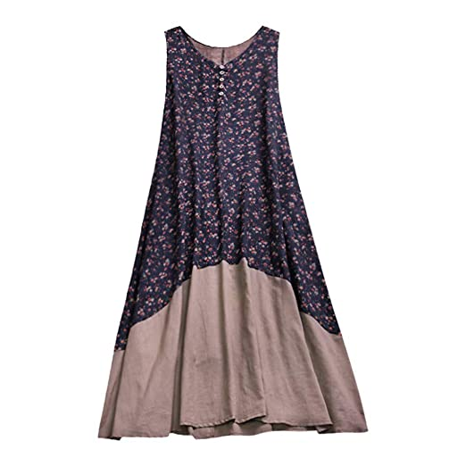 a286d3657a3c Plus Size Women s Sleeveless Cotton Linen Printed Stitching Patchwork Casual  Loose Long Retro Dress Navy