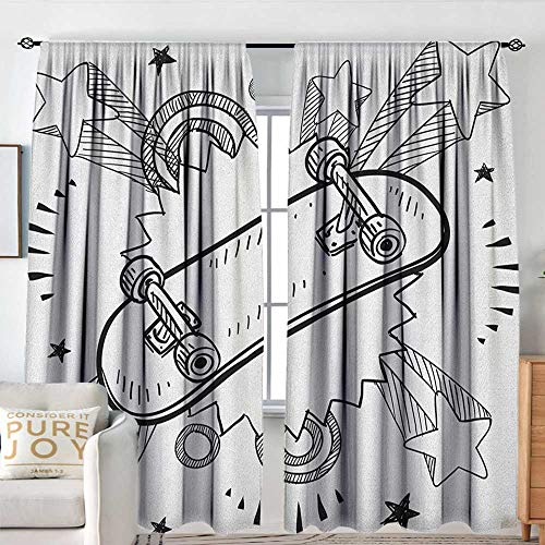 Doodle Window Curtains Sketch of a Skateboard with Sixties and Seventies Style Pop Art Inspired Background Blackout Draperies for Bedroom W 72
