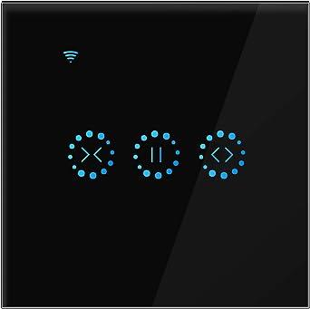 Blanc Konesky Smart Curtain Switch Switch Wifi sans fil Stores /électriques Switch Interrupteur mural tactile avec minuterie Alexa Google Home Assistance