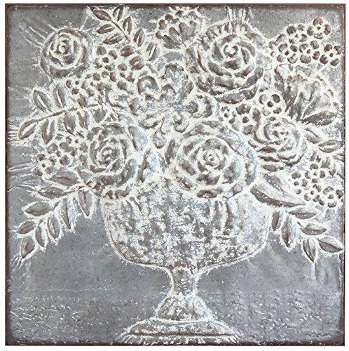 - Creative Co-op DA9285-1 Square Metal Floral Bouquets Wall Décor