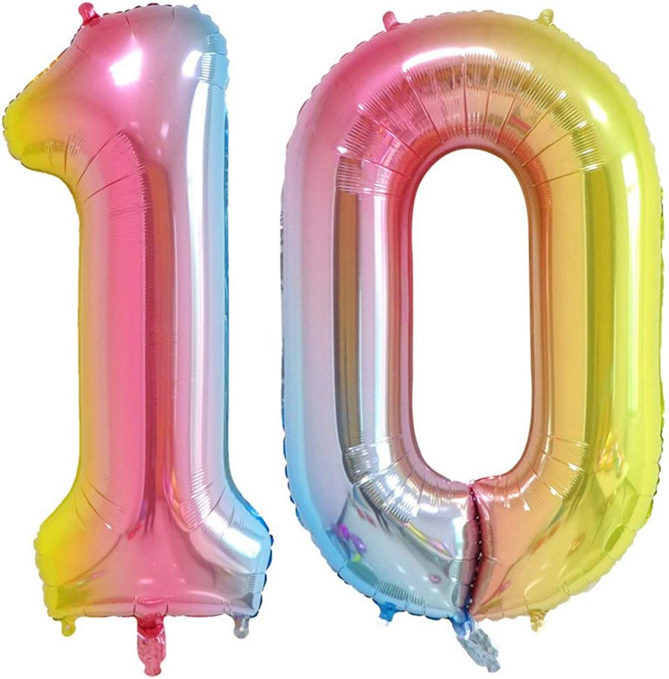 40 Inch Rainbow Numbers 10 Balloons Large Colorful Foil Helium Digital Jumbo Balloons for Boy Girl Birthday Party Decorations