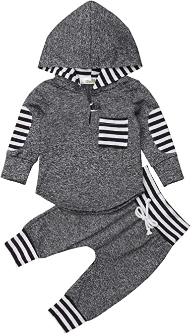 2Pcs Toddler Infant Baby Girls Boys Clothes Set Hooded Tops+Pants Outfit Clothes