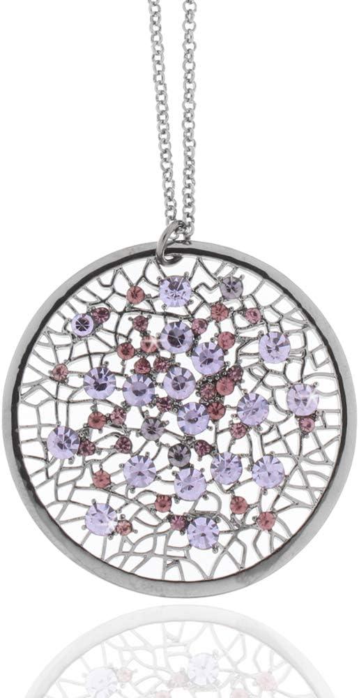 Unbekannt Collar Desconocido con Colgante de Piedras de Cristal Lila Gun Metal Collar Mujer Joyas Collar Mujer Collar Collar Necklace Ladies
