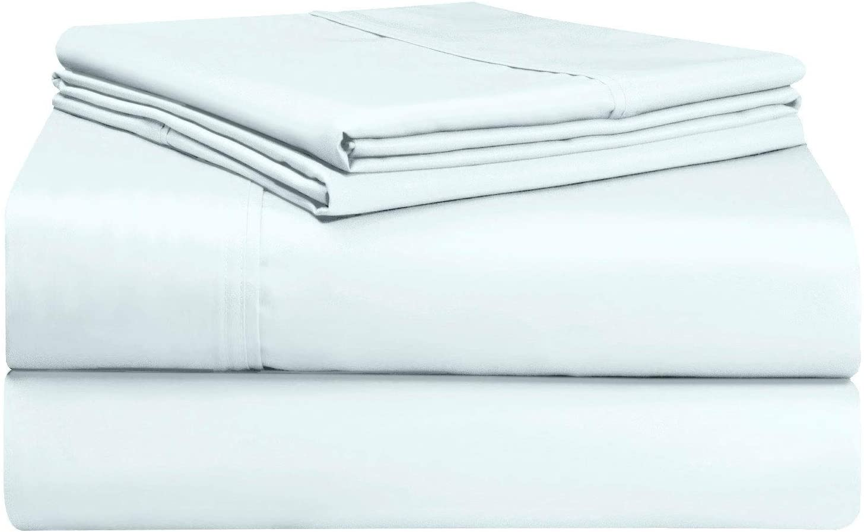 Pizuna 400 Thread Count XL Twin Sheets Set Light Blue, 100% Long Staple Cotton Twin XL Cotton Sheets, Soft Sateen Bed Sheets fit Upto 15 inch Deep Pocket (Pastel Blue XLong Twin Sheets)