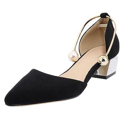 UH Damen Chunky Heels Spitze Pumps mit Perlen Bequeme Fashion Schuhe