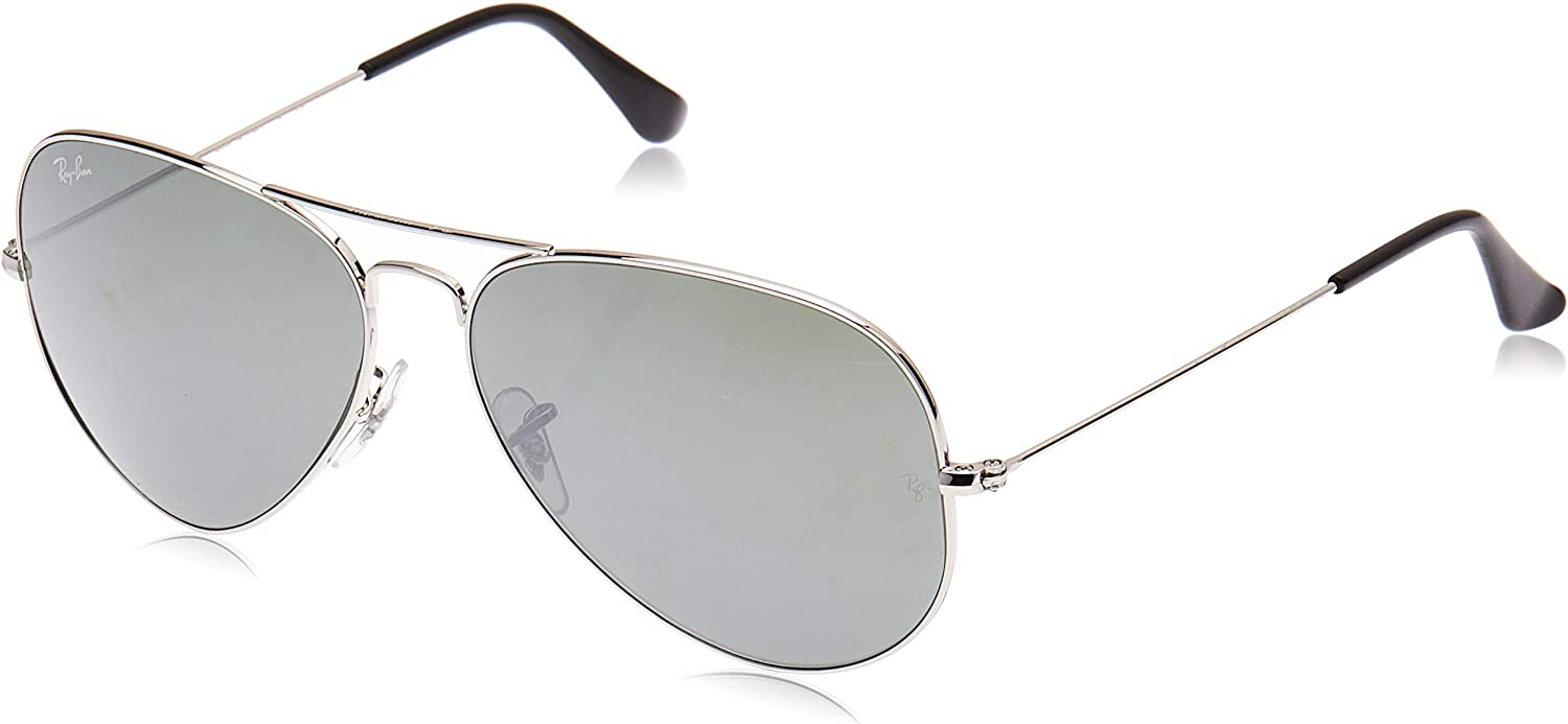 RB3025 Aviator Classic Mirrored Sunglasses, Silver/Grey Mirror, 62 mm
