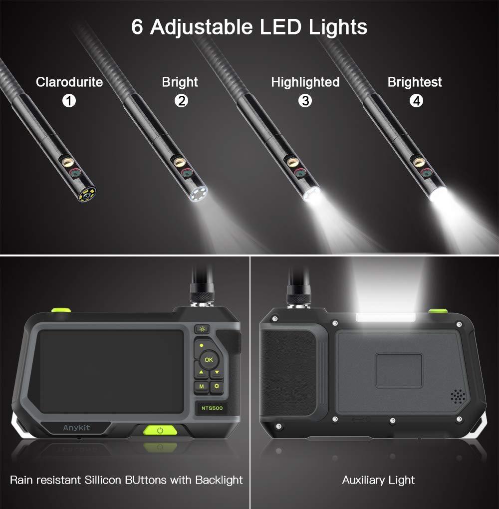 /écran LCD de 4,5 Pouces Anykit Cam/éra dinspection Endoscope /à Double lentille Cam/éra dinspection dendoscope Industriel /à Double lentille de 8 mm avec 6 lumi/ères LED r/églables