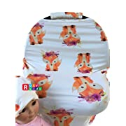 Rosy Kids Stretchy Infant Car Seat Canopy Cover, Jersey Car Seat Cover Elastic Nursing Scarf Privacy Cover with Matching Car Seat Handle Cover and Baby Hat, Color08JY09