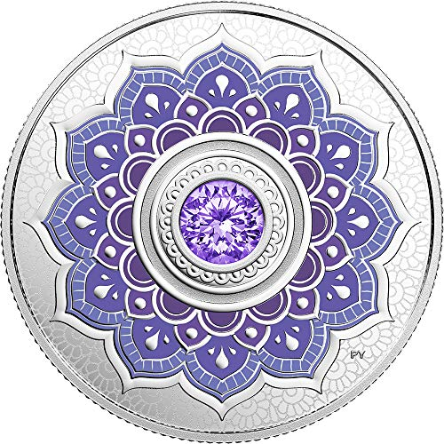 - 2018 CA Birthstone Canada PowerCoin DECEMBER Birthstone Swarovski Crystal Silver Coin 5$ Canada 2018 Proof