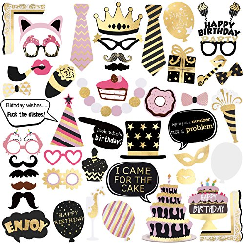 UNOMOR 48Pack Birthday Photo Booth Props, Bronzing Birthday Party Props Kit for Birthday Decorations
