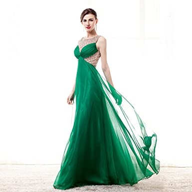 Wishopping Womens Long A Line Bead Prom Dress Evening Gown Green Size 2