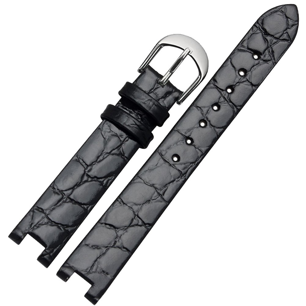 Guanqin 15mm Top Grain Leather Watch Band For Fiyta Women's Watch Strap (black)