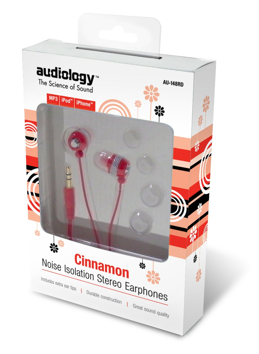 AUDIOLOGY AU-148-RD In-Ear Stereo Earphones for MP3 Players, iPods and iPhones (Red) by Audiology