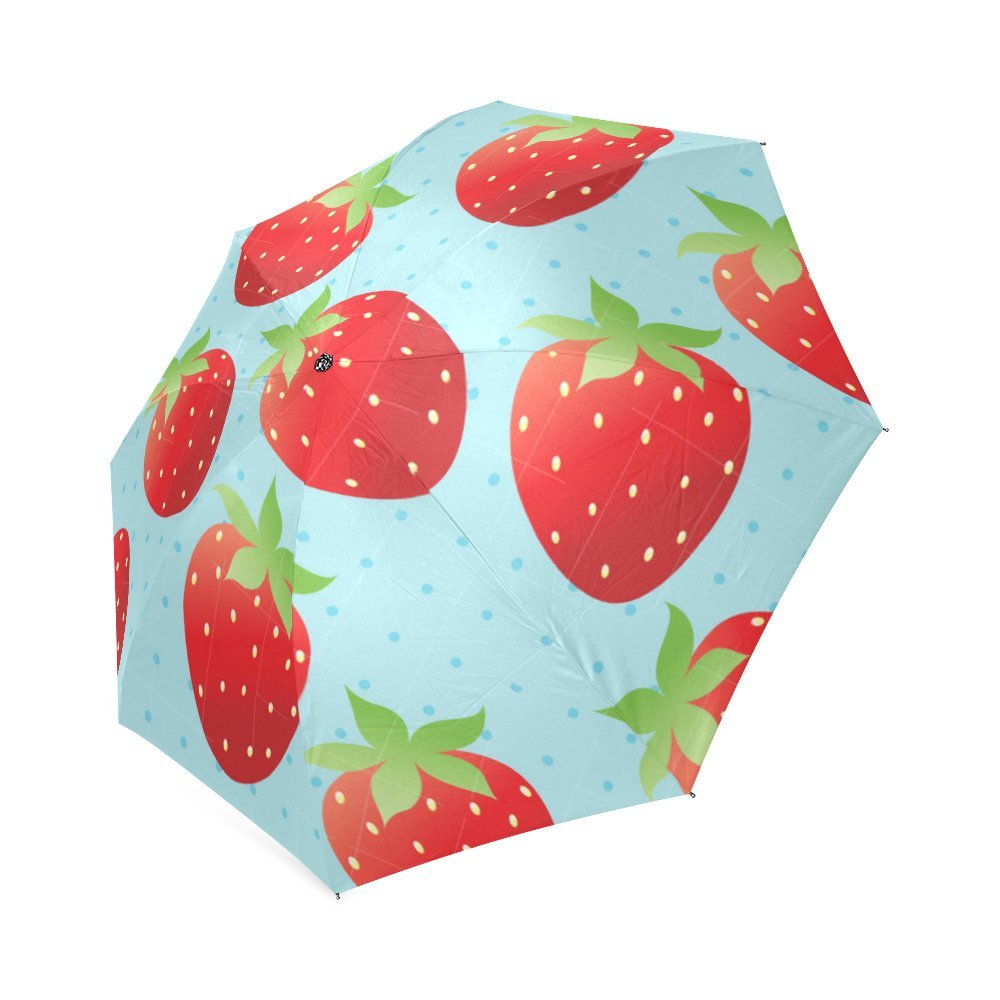 lovely Cute Funny Strawberry Art Lightweight Rain/Sun Umbrella Folding Anti-uv, Wind-proof Travel Umbrella