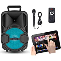 Draagbare karaokemachine en luidspreker met Bluetooth, 1 bedrade microfoon en disco-lichteffect, 100 watt vermogen