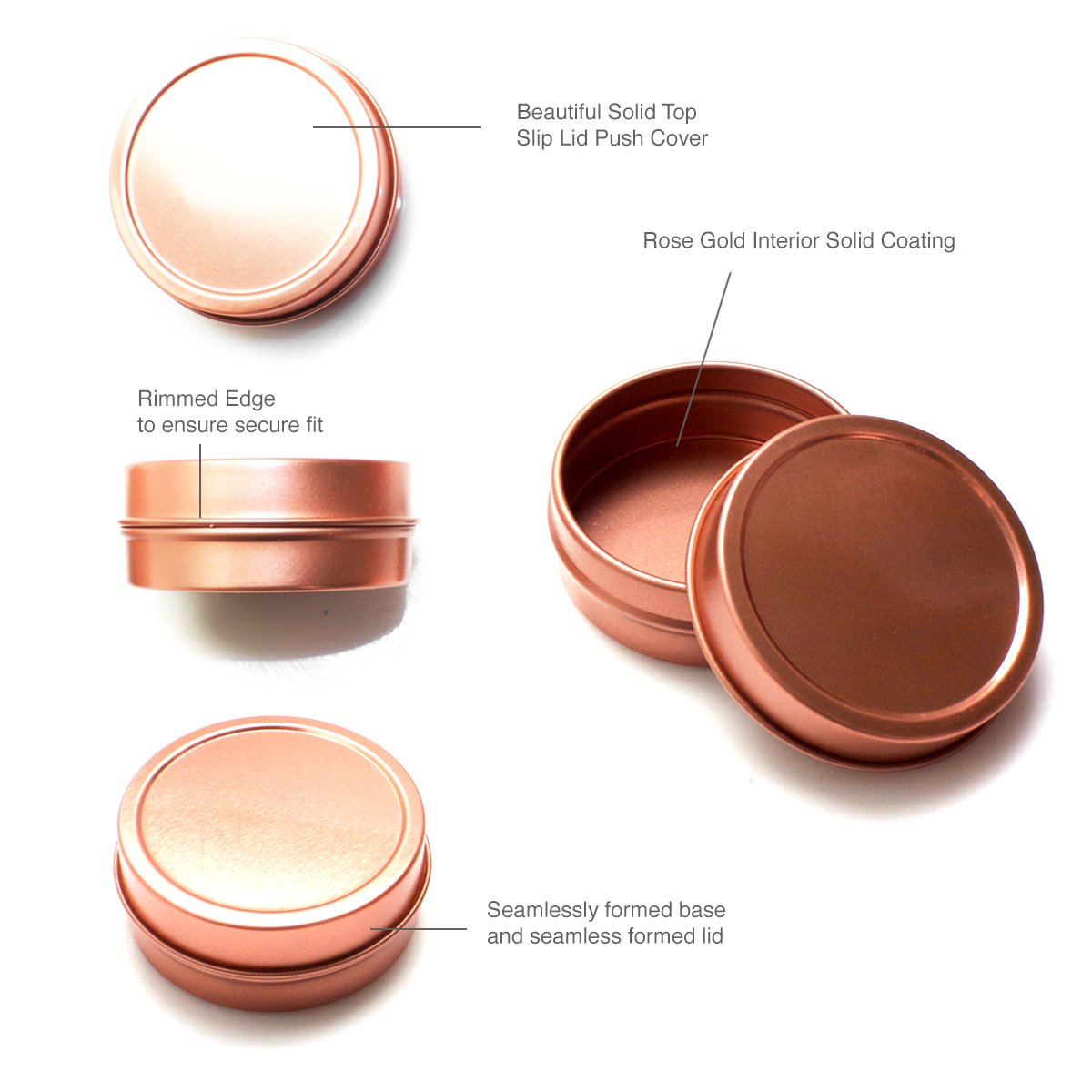 Mimi Pack ALL Shallow Solid Slip Top Tins (8 oz, Rose Gold) by Mimi Pack (Image #9)
