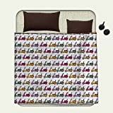 smallbeefly Motorcycle Printed blanket Cartoon Style Scooters with Seatbacks and Round Mirrors Showing off in Parademinion blanket Multicolor