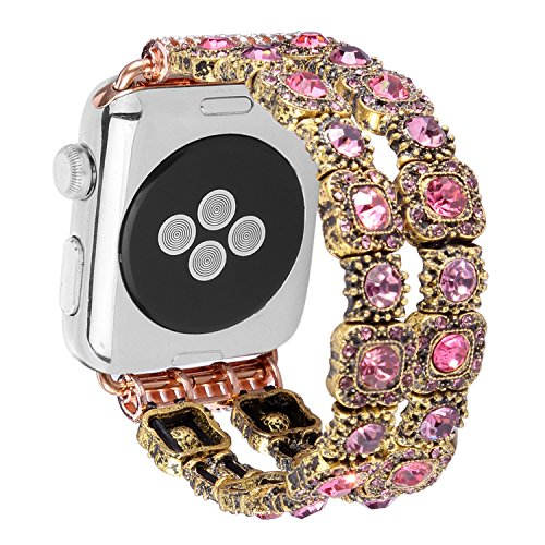 Band Pink Crystal (Apple Watch Band 38mm,TMXFISH Handmade Vintage Faux Crystal Stone Rhinestone Beaded Bracelet Wrist Strap Elastic Stretch Smart iWatch Replacement Bands for Series 2 Series 1 Series 3 (Pink))