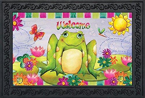 - Briarwood Lane Happy Frog Summer Doormat Welcome Floral Indoor Outdoor 18
