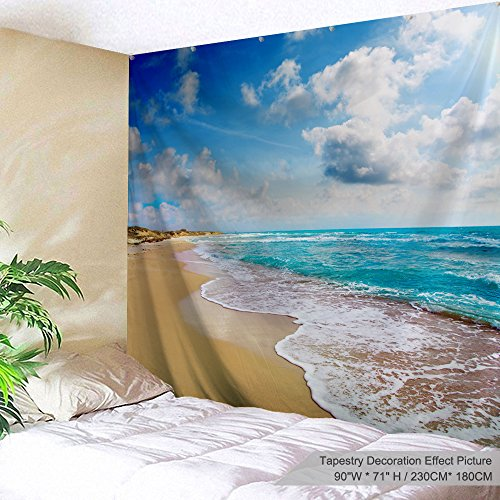 Room Beach Divider - PROCIDA Home Tapestry Wall Hanging Nature Art Polyester Fabric Sea Beach Theme, Wall Decor for Dorm Room, Bedroom, Living Room, Nail Included - 90