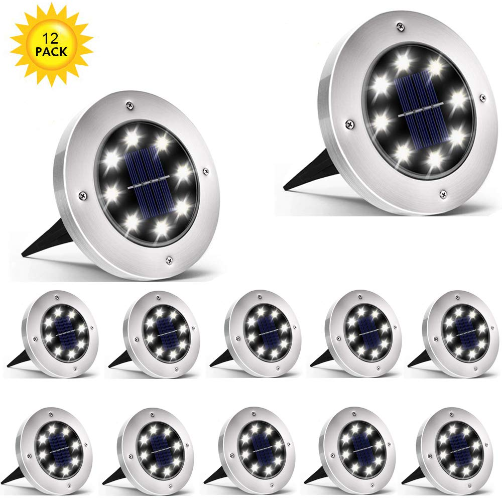Rishayh Solar Ground Lights, 8 LED Garden Pathway Outdoor Waterproof In-Ground Lights, 12 Pack by Rishayh