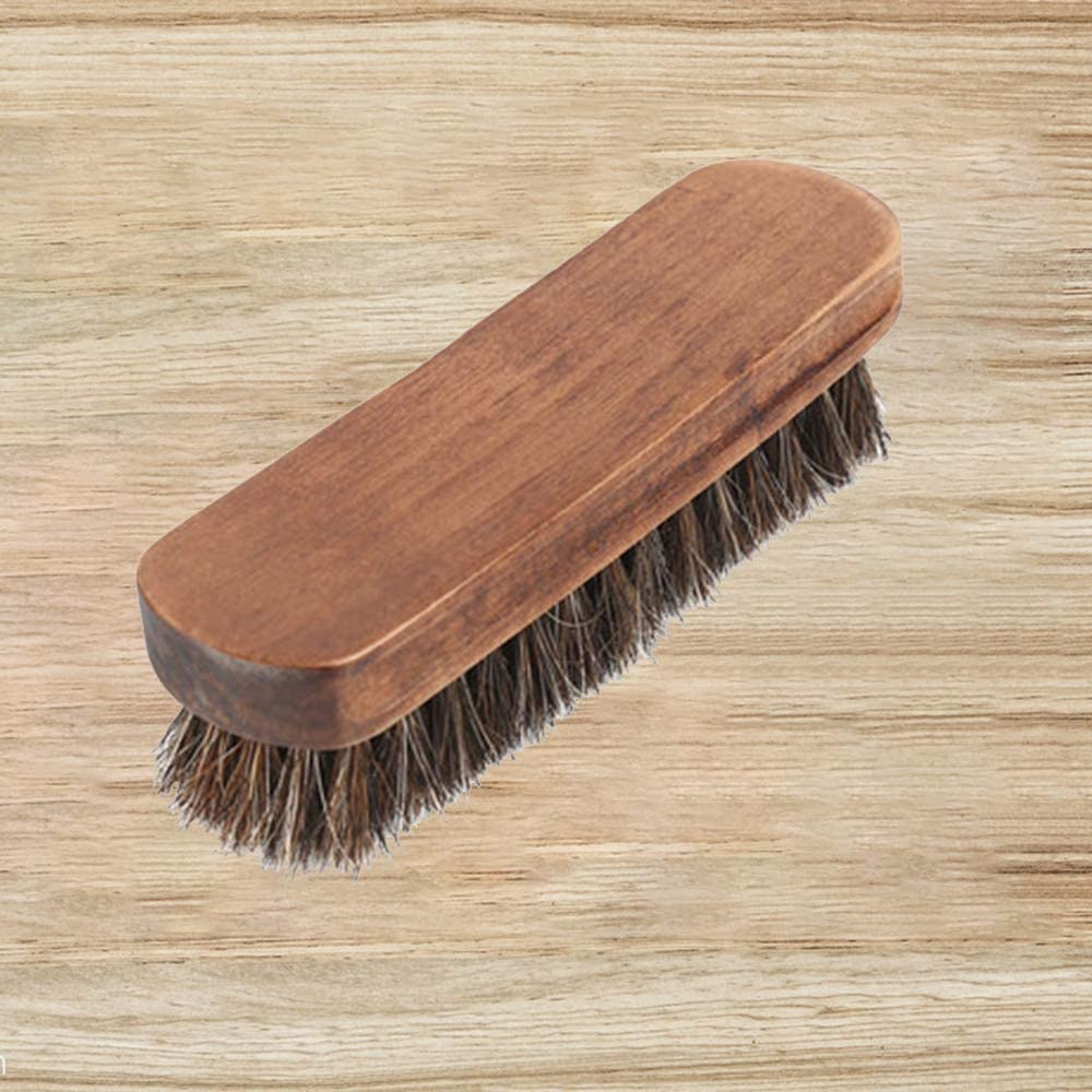FairytaleMM Horsehair Wood Brush 7.1 Shine Shoe Brushes with Horse Hair Bristles for Boots Shoes Other Leather Care Dark Coffee