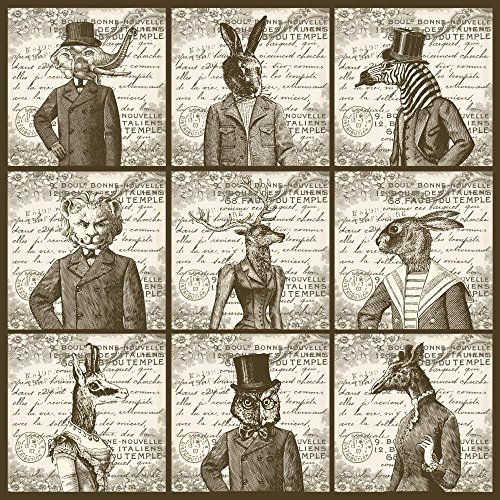 Wallmonkeys WM366409 Animals Portrait Peel and Stick Wall Decals (18 in H x 18 in - 1900 Antique Portrait