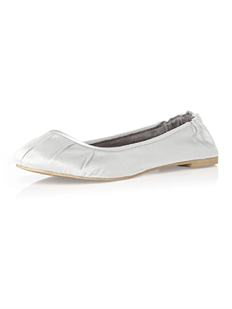 693816ed2f1f Dessy Women s Matte Satin Ballet Flats with Pleated Toe Detail by White -  Size 6