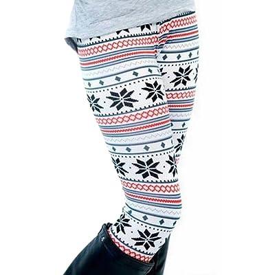 Abetteric Women's Stretch Graphic Print Basic Cropped Leggings