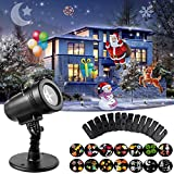 Christmas LED Projector Light, 14 Switchable Patterns Waterproof Landscape Spotlight Motion Projection Light for Xmas Thanksgiving Birthday Party Holiday Indoor Outdoor Decoration