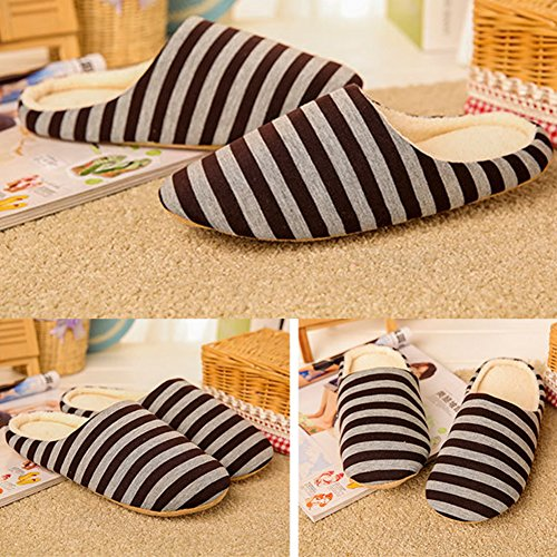 Women Men Slippers ,Woopower Casual Striped Soft Sole Half Wrapp Root Warm Shoes Coffee