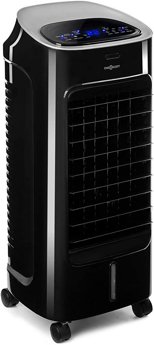 Oneconcept Coolster - Climatizador evaporativo, Enfriador de Aire, Ventilador, ionizador, humidificador de Aire, 4 en 1, 65 W, Tanque 4 L, Temporizador, oscilación, Mando a Distancia, Negro Antracita: Amazon.es: Hogar