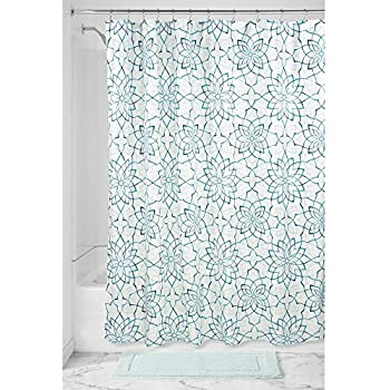 InterDesign Kenzie Floral Fabric Shower Curtain 72 X