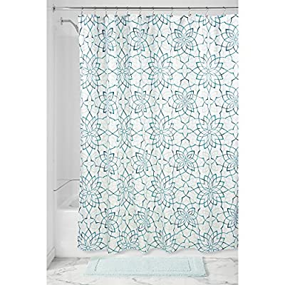 "InterDesign Kenzie Floral Fabric Shower Curtain, 72"" X 72"" - deep Teal - Easy care: machine wash cold, tumble dry low 12 reinforced button holes for easy hanging Quick-dry, mold and mildew-resistant fabric shower curtain - shower-curtains, bathroom-linens, bathroom - 61RTlloULXL. SS400  -"