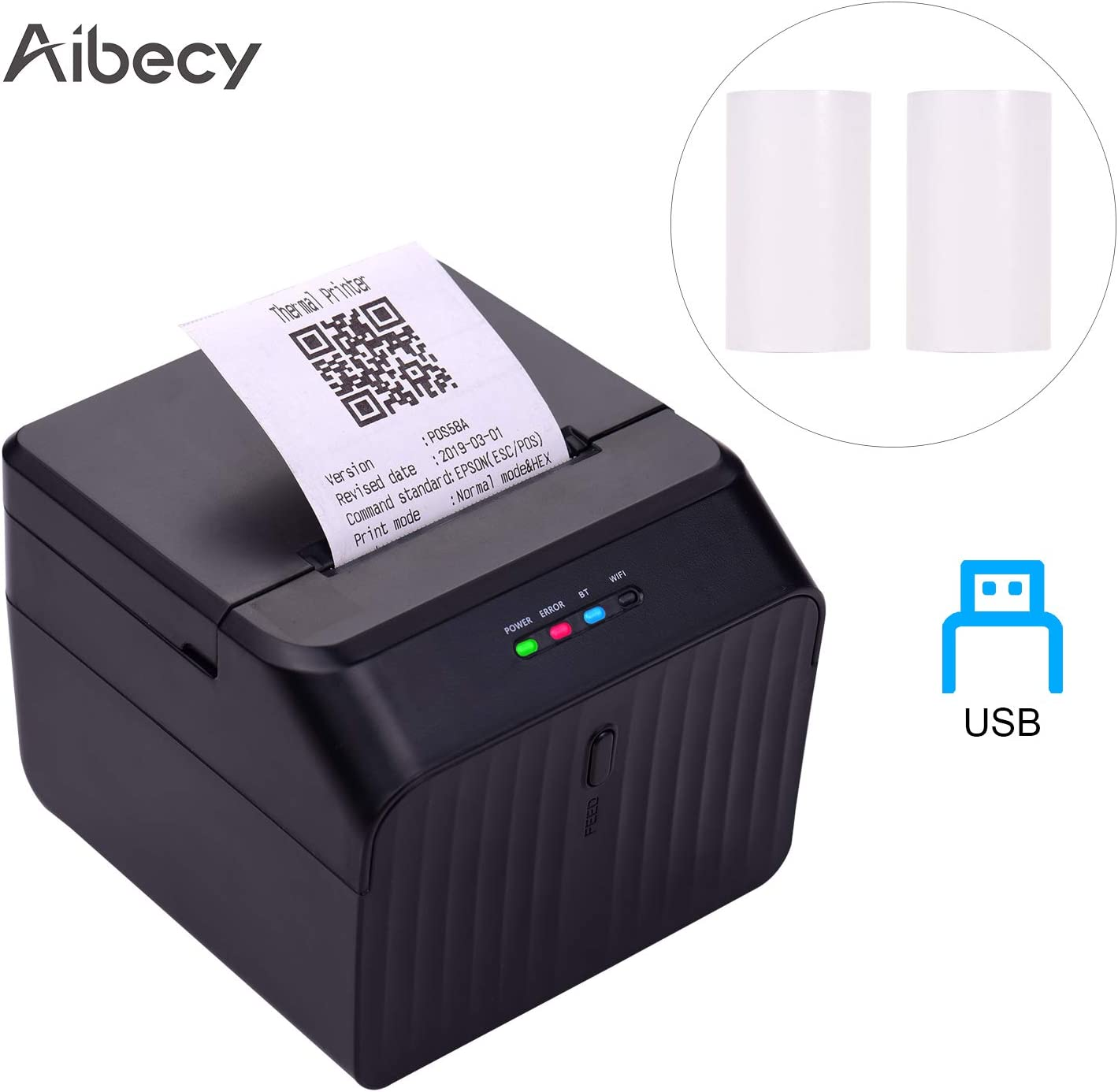 Aibecy Desktop 58mm Thermal Receipt Printer Wired Barcode Printer USB Connection with 2 Rolls Paper Inside Support ESC/POS Command Compatible with Windows Android iOS for Supermarket Store Restaurant