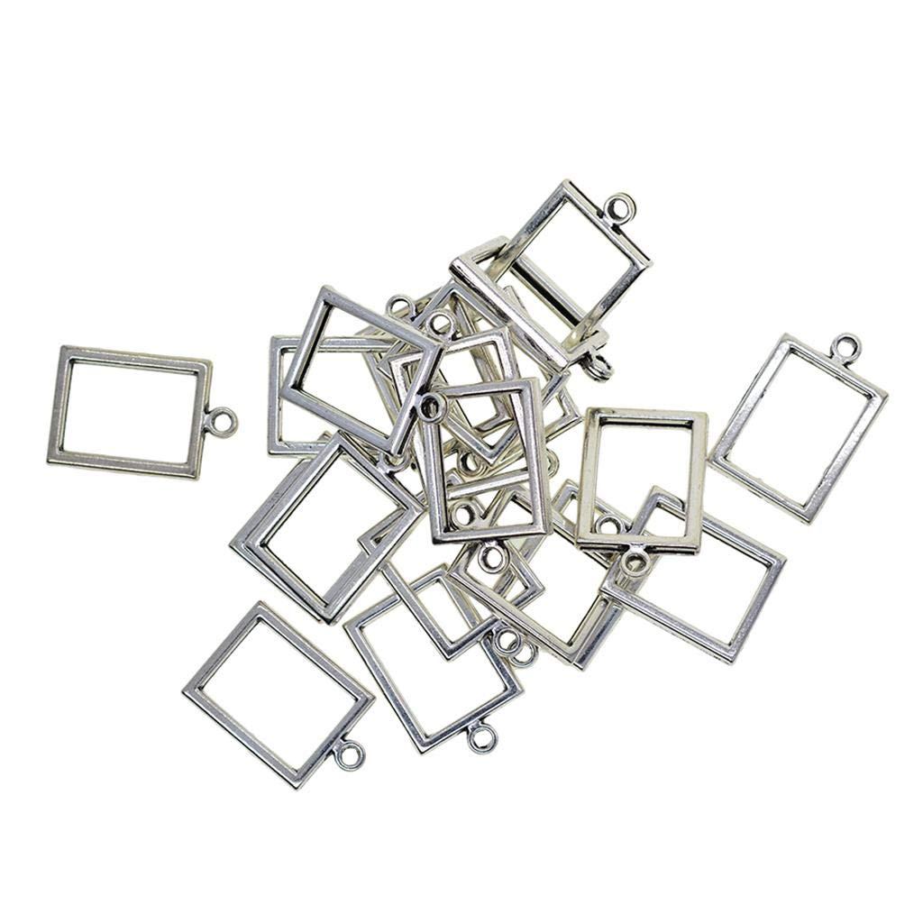 Fenteer 20PCS Antique Silver Rectangular Open Bezel Pendant Open Back Bezel Blanks Frame Hollow Charms for Handmade Resin Crafts Jewelry Findings Making