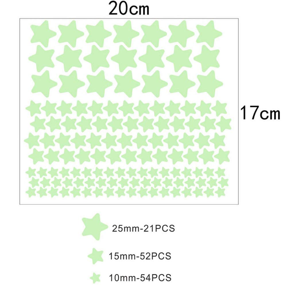 Pegatinas de pared luminosas fluorescentes 3D 127 Uds estrellas que brillan en la oscuridad pegatinas de pared luminosas fluorescentes para ni/ños habitaci/ón de beb/é dormitorio decoraci/ón del techo