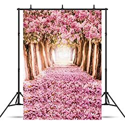 SJOLOON 5x7ft Cherry Blossoms Street Photography Backdrop Thin Vinyl Customized Beautiful Flower Road Photo Background Studio Props 8461