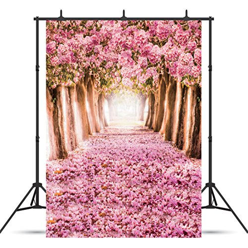 SJOLOON 5x7ft Spring Cherry Blossoms Street Photography Backdrop Thin Vinyl Customized Beautiful Flower Road Photo Background Studio Props 8461