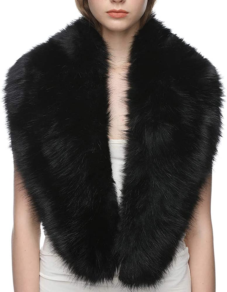 Ladies Long Faux Fur Vintage Scarf Womens Collar Winter Warm Wrap Stole New