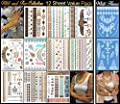 10 Metallic Plus 2 White Henna Tattoo Sheets - 129+ Temporary Flash Tattoos for Woman & Girls in White, Gold, Silver & Turquoise (Wild & Free Collection)