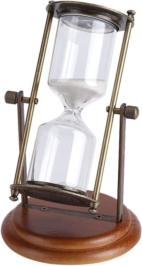 Fdit 15 Minutes Hourglass Metal Glass Rotating Sand Timer with Wooden Base for Gifts Toy Home Office Desktop Decor