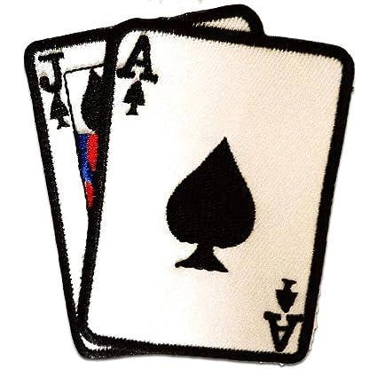 Parches - as cartas Poker - blanco - 7,5x8,5cm - termoadhesivos bordados aplique para ropa